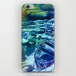 pen and ink boats blue iPhone Skin