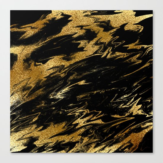 Luxury and sparkle gold glitter and black marble on #Society6 Canvas Print