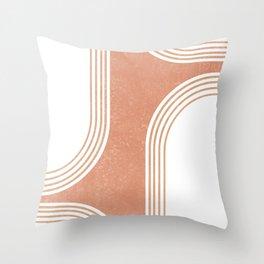 Mid Century Modern 3 - Geometrical Abstract - Minimal Print - Terracotta Abstract - Burnt Sienna Throw Pillow