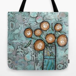 """""""Yellow Flowers in a Vase"""" Mixed Media Tote Bag"""