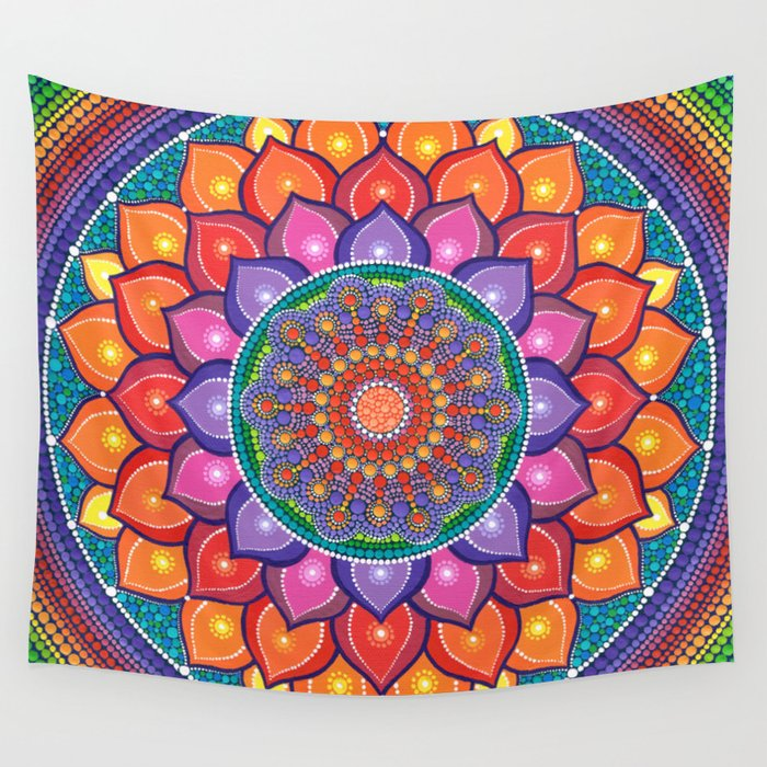 Lotus Rainbow Mandala Wall Tapestry