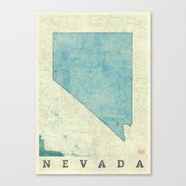 Nevada State Map Blue Vintage Canvas Print