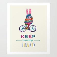 Bunny on a bike Art Print