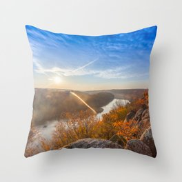 mountain autumn landscape with Southern Bug river Throw Pillow