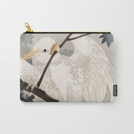 Cockatoo on a tree - Japanese vintage woodblock print Carry-All Pouch