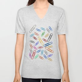 Paperclips Handdrawn in Rainbow Unisex V-Neck