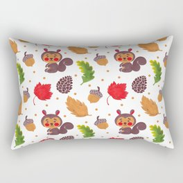 Brown red Autumn floral happiness squirrel polka dots Rectangular Pillow