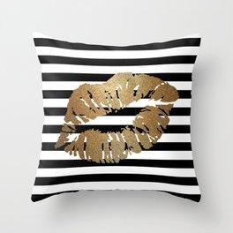 Gold Lips 2 Throw Pillow