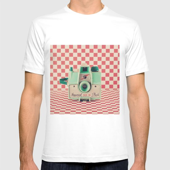 Mint Retro Camera on Red Chequered Background  T-shirt
