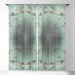 Cool turquoise brown rusty metal Sheer Curtain