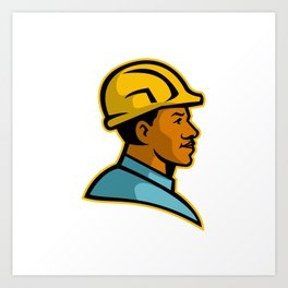 African American Construction Worker Mascot Art Print