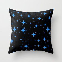 Bright Blue  Stars in Space Throw Pillow
