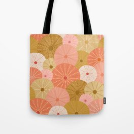 Sea Urchins in Coral + Gold Tote Bag