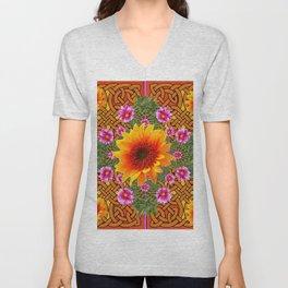 Celtic Fuchsia Green Sunflowers Dahlias Art Design Unisex V-Neck