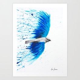 Blue Healing Bird Art Print