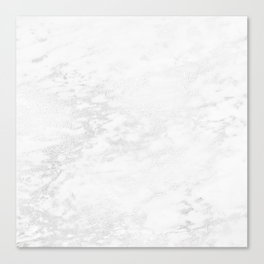 White Marble Silver Glitter Gray Canvas Print