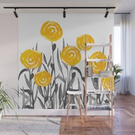Fall Sunshine, Floral Watercolor Print, Yellow and Gray Wall Mural