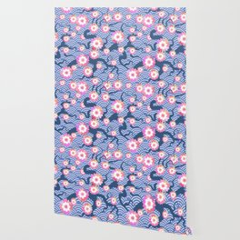 Sakura flowers Nature background with blossom branch of pink flowers. Cherry tree branches japanese Wallpaper