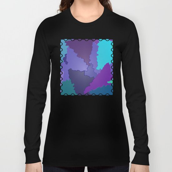 Blues and Purples Puzzle Patchwork Long Sleeve T-shirt