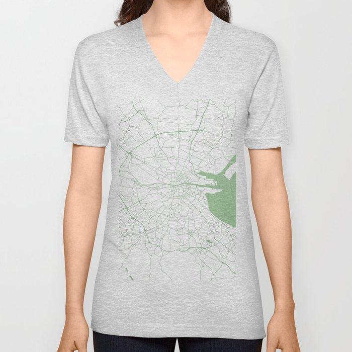 White on Green Dublin Street Map Unisex V-Neck
