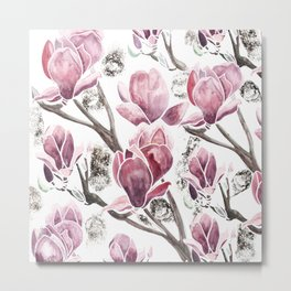 Pink Magnolia with some gold touch Metal Print