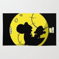 mario bros Area & Throw Rugs featuring Yoshi and Baby Mario ( super mario bros ) by TxzDesign