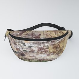 Vintage Guitar Watercolor Collage Mixed Media Fanny Pack
