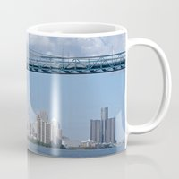 detroit Mugs featuring Nearing Detroit by Ann Horn