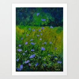 Blue chicorees  Art Print