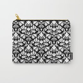 Flourish Damask Big Ptn White on Black Carry-All Pouch
