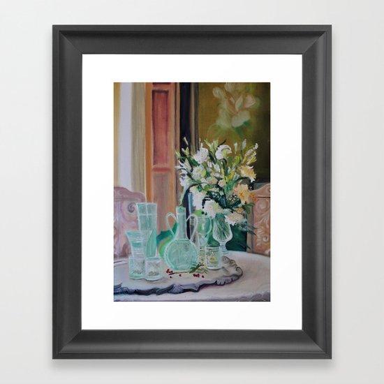 Bunch of white flowers Framed Art Print