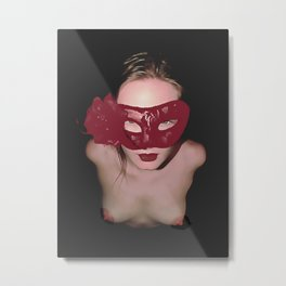 Submissive girl posing topless, red carnival mask, sexy erotic slave, nude woman on her knees Metal Print