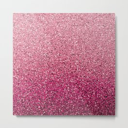 Pink Ombre Glitter Metal Print
