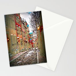 Acorn Street, Boston, USA - Burnt Edges Stationery Cards