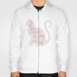 Shabby chic illustration - all you need is love (and a CAT), typography, interior design, cats, love Hoody