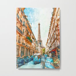 Paris City Street Vintage Eiffel Tower. For Eiffel Tower & Paris Lovers. Metal Print
