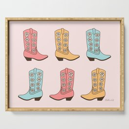 Western Cowgirl Vintage Boots with Daisies in Pastel Pink, Blush, Mint and Yellow Retro Boot Pattern Serving Tray