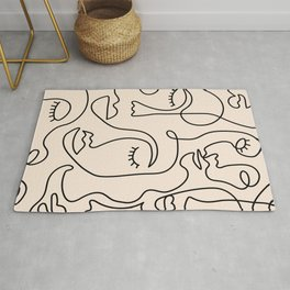 Abstract Single Line Face  Rug