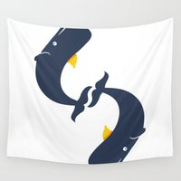 whales Wall Tapestries featuring $ Whales by kid santo