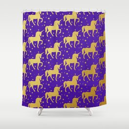 Purple and Gold Unicorn and Stars Pattern Shower Curtain