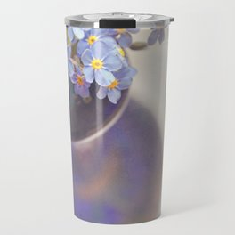 Forget me nots in blue vase. Travel Mug