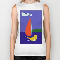 sailboat Biker Tanks featuring cute sailboat by laika in cosmos