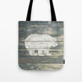 Rustic White Bear on Teal Wood Lodge Art A231c Tote Bag