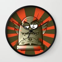 fault Wall Clocks featuring Fault 45 01 (its not his fault) by Face Leakage