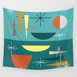 Turquoise Mid Century Modern Wall Tapestry