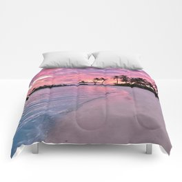 SUNSET AND PALM TREES Comforters