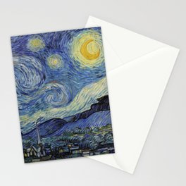 The Starry Night by Vincent van Gogh 1889 // Abstract Brush Stroke Detail Mountains Stars City Scene Stationery Cards