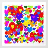 Beaucoup de coeurs de couleur Art Print