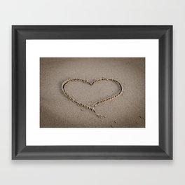 Heart Love Sand Framed Art Print