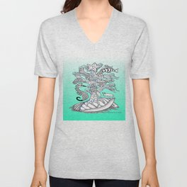 Zentangle Seahorse, Coral, Starfish Undersea Illustration Unisex V-Neck